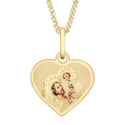 9K Yellow Gold St Christopher Heart Pendant