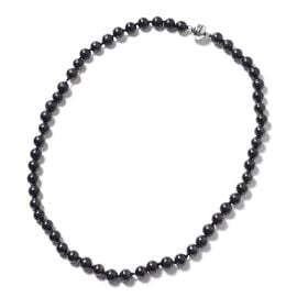 Shungite (Rnd) Necklace (Size 20) in Rhodium Overlay Sterling Silver 180.00 Ct