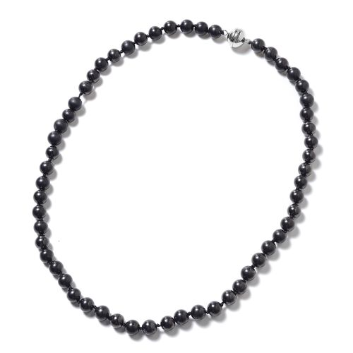 180 Ct Shungite Beaded Necklace in Rhodium Plated Sterling Silver 20 Inch