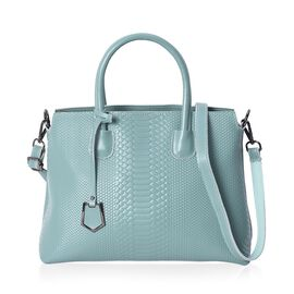100% Genuine Leather Snake Pattern Tote Bag with Detachable Shoulder Strap and Zipper Closure (Size