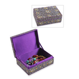 Handcrafted Decorative Beads Bling Storage Box with Inside Lining (Size 18.5x13x5.7 Cm) - Purple and