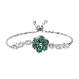 5.75 Ct Malachite and White Topaz Floral Adjustable Bracelet in Silver Tone