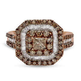 9K Rose Gold SGL Certified Champagne (I3) and White Diamond (G-H / I3) Ring 2.00 Ct.