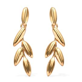 14K Gold Overlay Sterling Silver Leaf Earrings