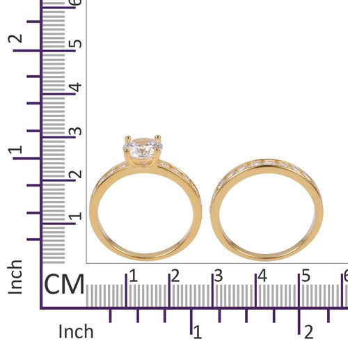 ELANZA AAA Simulated White Diamond 2 Ring Set in 14K Yellow Gold Overlay Sterling Silver, Silver wt 4.75 Gms.