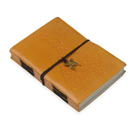 Doorbuster Deal- Embossed Leather Diary with Butterfly Charm (Size 17.78x12.7 Cm) - Mustard
