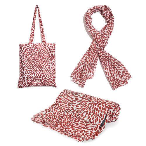 100% Cotton Maroon and White Colour Leaves Printed Towel (Size 160x90 Cm), Pareo (Size 160x50 Cm) an