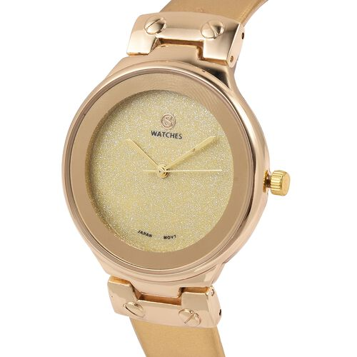 STRADA Japanese Movement Water Resistant Watch with Yellow Sapphire Colour Strap