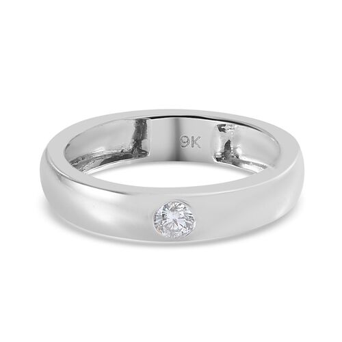 Diamond Flush Set Solitaire Band Ring in 9K White Gold 2.75 Grams I1 GH