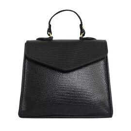 Assots London KYLIE Lizard Textured Genuine Leather Grab Bag (Size 13x2.5x10 Cm) - Black