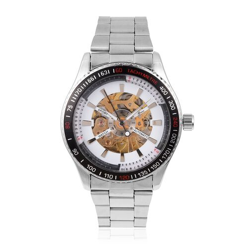 GENOA Automatic Mechanical Movement White Dial Water Resistant Watch in Silver Tone with Stainless S