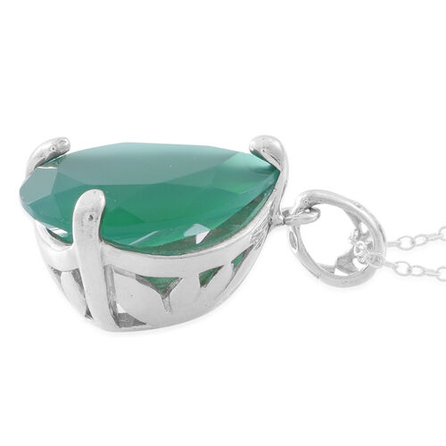 Verde Onyx (Pear) Pendant With Chain in Rhodium Plated Sterling Silver 11.250 Ct.