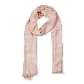 Brand New Scarves - Peach Colour Sequin Work Scarf (Size 70x180 Cm) - Peach