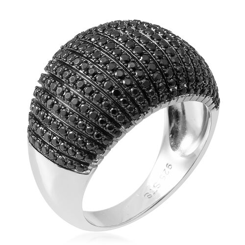 Boi Ploi Black Spinel (Rnd) Cluster Ring in Rhodium Overlay Sterling Silver 2.530 Ct, Silver wt 7.00 Gms, Number of Gemstone 253