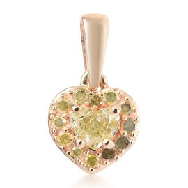 9K Yellow Gold Natural Yellow Diamond Heart Pendant  0.33 Ct.