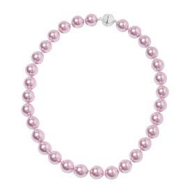 Lavender Colour Shell Pearl (Rnd 13-15 mm) Necklace (Size 20) with Magnetic Lock in Silver Plated