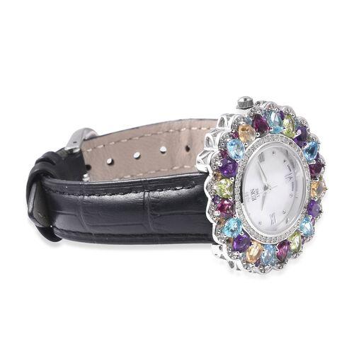 EON 1962 Swiss Movement Rhodolite Garnet and Multi Gemstone Watch with Black Genuine Leather Strap in Rhodium Overlay Sterling Silver 8.17 Ct, Silver wt 13.70 Gms