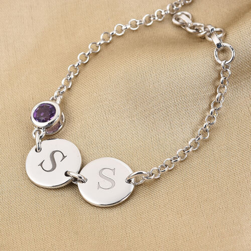 Personalise Engravable Initial Double Disc and Birthstone Bracelet
