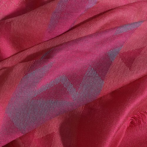 Fuchsia Colour Reversible Jacquard Scarf with Fringes (Size 190X70 Cm)