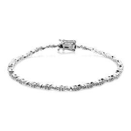 Diamond (Bgt) Bracelet (Size 7.5) in Platinum Overlay Sterling Silver 0.750 Ct. Silver wt 7.59 Gms. Number of Diamonds 144