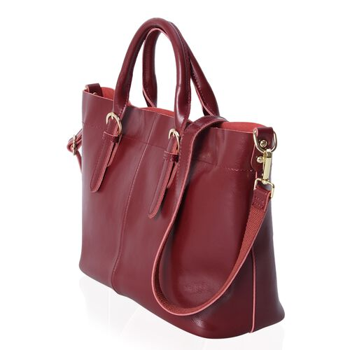 Limited Collection 100% Genuine Leather Burgundy Colour Tote Bag with Removable Shoulder Strap (Size 38x32x24x13 Cm)