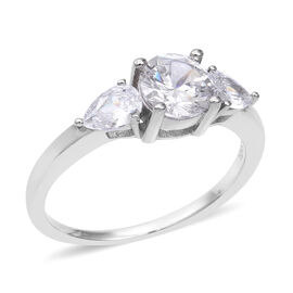 ELANZA Simulated Diamond (Rnd and Pear) Ring in Rhodium Overlay Sterling Silver