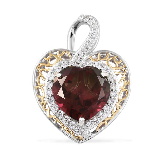 Finch Quartz (Hrt 13.75 Ct), Natural Cambodian Zircon Pendant in  Sterling Silver 16.000 Ct, Silver wt 7.60 Gms.