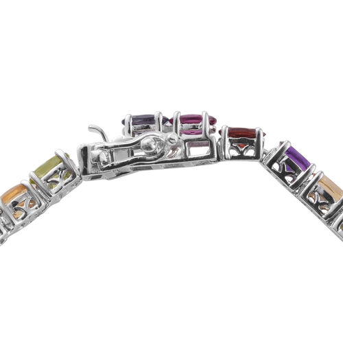 Mozambique Garnet (Ovl), Rhodolite Garnet, Hebei Peridot, Amethyst, Citrine and Iolite Tennis Bracelet (Size 7.5) in Platinum Overlay Sterling Silver 13.200 Ct, Silver wt. 11.00 Gms.