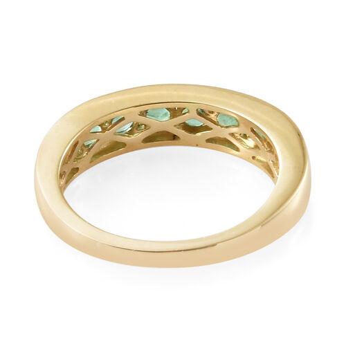 9K Yellow Gold AA Kagem Zambian Emerald (Rnd) Half Band Ring 1.000 Ct.