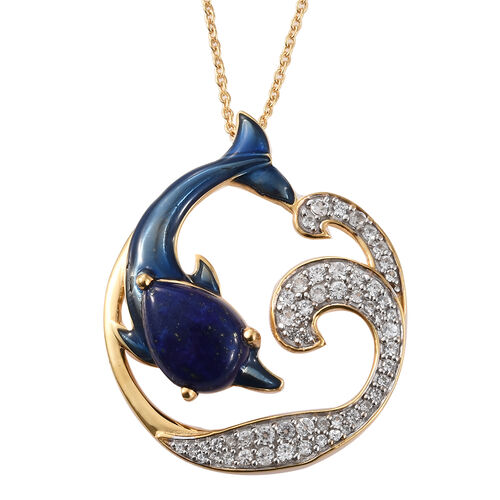 GP Lapis Lazuli (Pear), Natural White Cambodian Zircon and  Kanchanaburi Blue Sapphire Dolphin Pendant with Chain in 14K Gold with Enameled Overlay Sterling Silver 7.500 Ct, Silver wt 8.50 Gms.