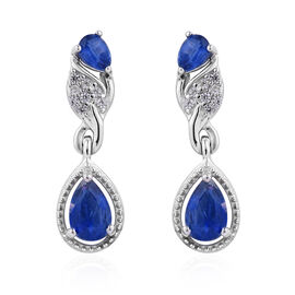 Himalayan Kyanite (Pear), Natural Cambodian Zircon Earrings (with Push Back) in Platinum Overlay Ste