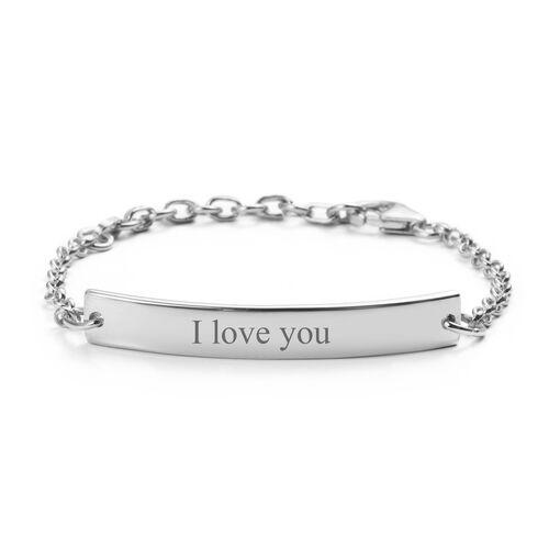 Personalise Engraved Bar Bracelet in Silver