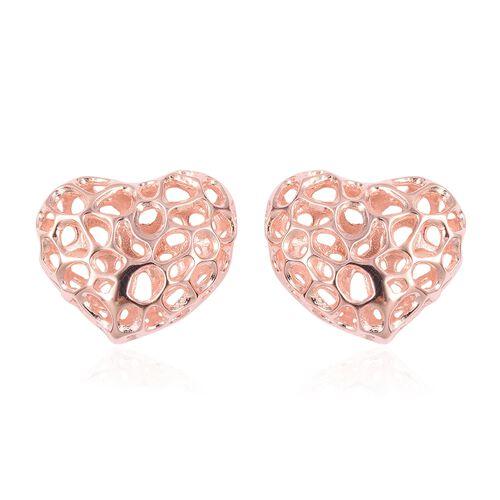 RACHEL GALLEY Heart Stud Earrings in Rose Gold Plated Sterling Silver