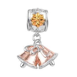 Christmas Bell Charm in Yellow Gold and Rose Gold and Platinum Plated 3 Tone Silver