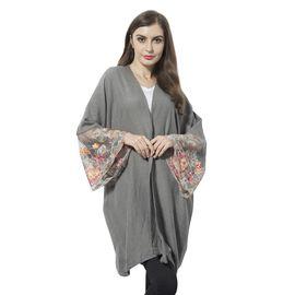Grey and Multi Colour Flower Pattern Lace Sleeve Kimono (Size 90x70 Cm)