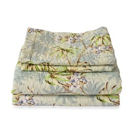 Green, Blue and Multi Colour Floral Pattern Microfiber Reversible Quilt (Size 260X240 Cm) and 2 Pill