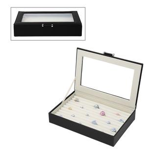 Portable Aniti Tarnish Lining Jewellery Box with Glass Window (Size:26.7x17.8x5.5Cm) - Black