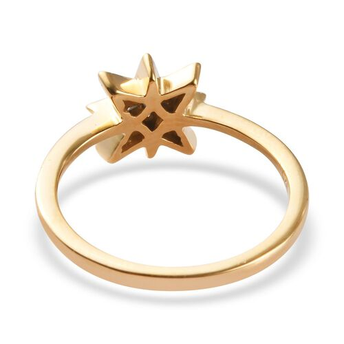 Diamond Starburst Ring in 14K Gold Overlay Sterling Silver 0.05 Ct.