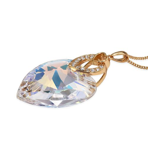J Francis - Crystal from Swarovski AB Crystal (Hrt 40mm), White Crystal Pendant With Chain (Size 30) in 14K Gold Overlay Sterling Silver, Silver wt 8.00 Gms