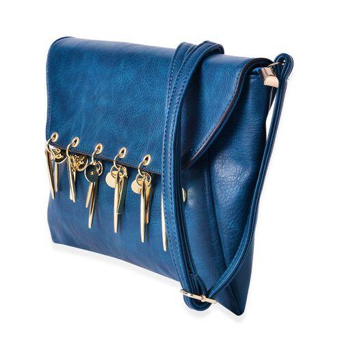Turquoise Colour Clutch Bag with Adjustable Shoulder Strap (Size 30x20 Cm)