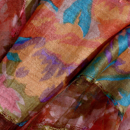 65% Silk Red, Blue and Multi Colour Artistic Floral Pattern Scarf with Fringes (Size 180x50 Cm)