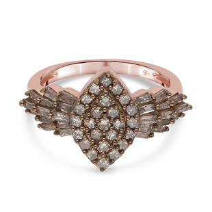 9K Rose Gold SGL Certified Natural Champagne Diamond (I3) Ring 1.00 Ct.