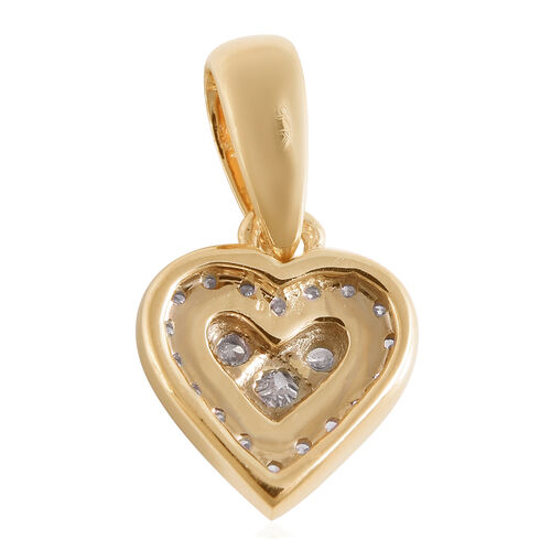 9K Yellow Gold SGL Certified Diamond (I3/G-H) Heart Pendant  0.15 Ct.