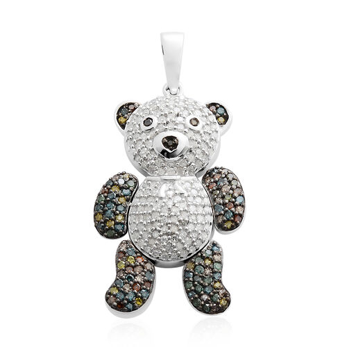 Multi Colour Diamond (Rnd) Teddy Pendant in Black and Rhodium Plated Sterling Silver 1.001 Ct. Number of Diamonds 235