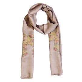 100% Cashmere Wool Elephant Pattern Scarf (Size 70x200 Cm) - Sand