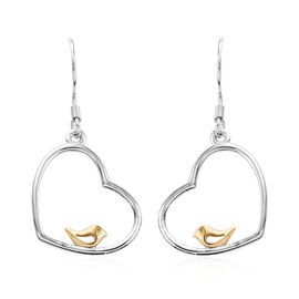 Platinum and Yellow Gold Overlay Sterling Silver Perching Birds Hook Earrings