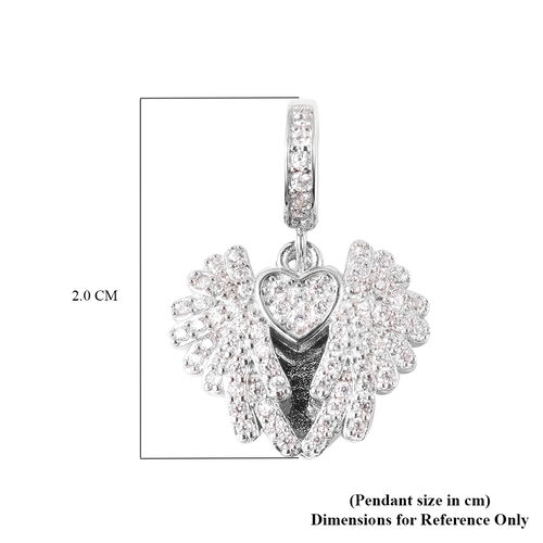 Charmes De Memoire - Simulated Diamond Heart with Angel Wings Charm in Rhodium Overlay Sterling Silver