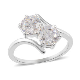 J Francis Sterling Silver Bypass Ring Made with SWAROVSKI ZIRCONIA 2.86 Ct.