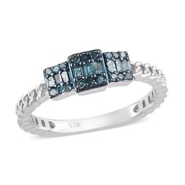 Blue Diamond Cluster Ring in Platinum Overlay Sterling Silver 0.25 Ct.
