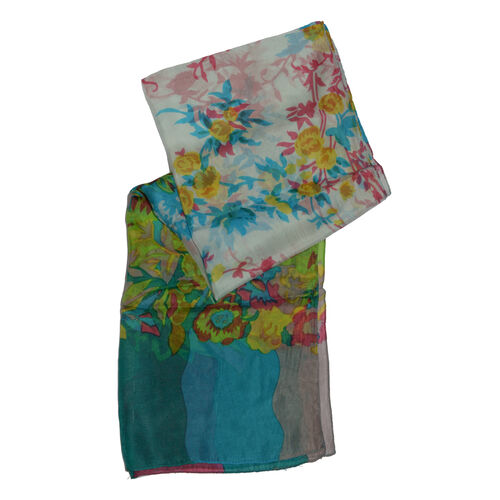 100% Mulberry Silk Green, Blue and Multi Colour Floral Hand Screen Printed Scarf (Size 180X50 Cm)